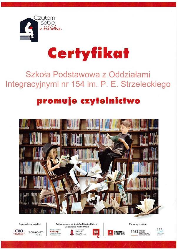 certyfikat dla szkoły promującej czytelnictwo