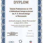dyplom ukończenia programu szkoły warszawskie 2013/2014
