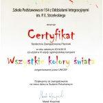 certyfikat unicef wszystkie kolory świata 2015
