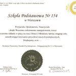 certyfikat za zaangażowanie za pracę na rzecz dzieci i młodzieży 2012