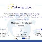 etwinning label za rejestrację projektu meet me at the platform