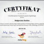 certyfikat jakości kształcenia języka angielskiego dla Małgorzaty Skalskiej 2017