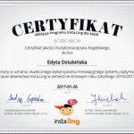 certyfikat jakości kształcenia języka angielskiego dla Edyty Dziubińskiej 2017