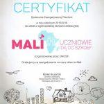 certyfikat za udział w ogólnopolskiej kampanii społecznej