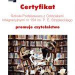 certyfikat szkoła promuje czytelnictwo