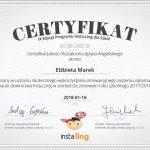 certyfikat jakości kształcenia języka angielskiego dla Elżbiety Marek 2018