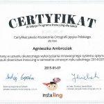 certyfikat jakości kształcenia ortografii języka polskiego dla Agnieszki Ambroziak 2015