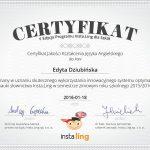 certyfikat jakości kształcenia języka angielskiego dla Edyty Dziubińskiej 2016