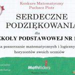 konkurs mathriders - podziękowanie za poszerzanie matematycznych i logicznych horyzontów uczniów