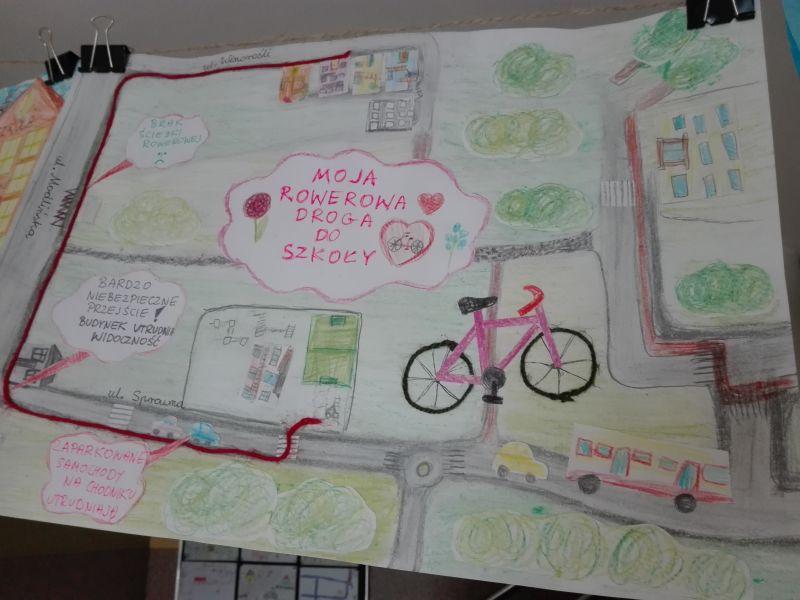 rysunek przedstawiający codzienną trasę pokonywaną rowerem do szkoły (ulice, budynki)