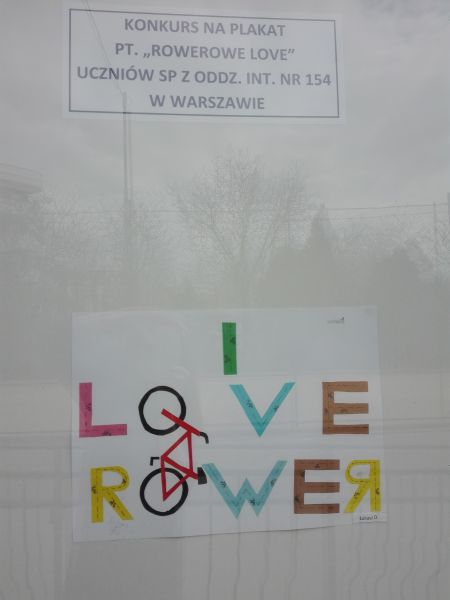 """plakat wykonany przez ucznia: napis """"I love rower"""""""