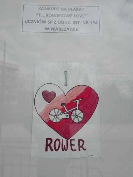 plakat wykonany przez ucznia: rower i serce