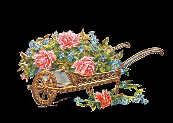 decoupage, kwiaty, taczki
