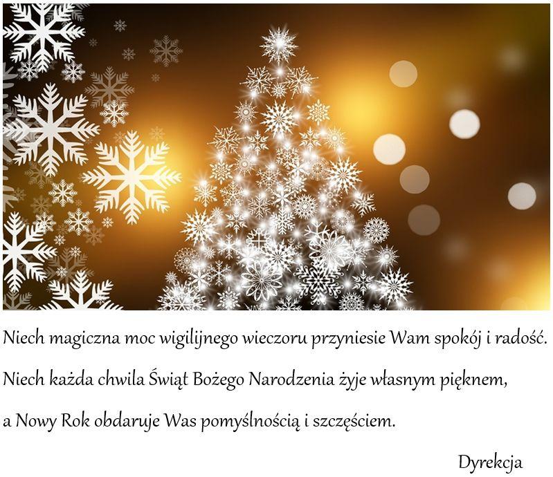 Niech magiczna moc wigilijnego wieczoru przyniesie Wam spokój i radość. Niech każda chwila Świąt Bożego Narodzenia żyje własnym pięknem, a Nowy Rok obdaruje Was pomyślnością i szczęściem. Dyrekcja