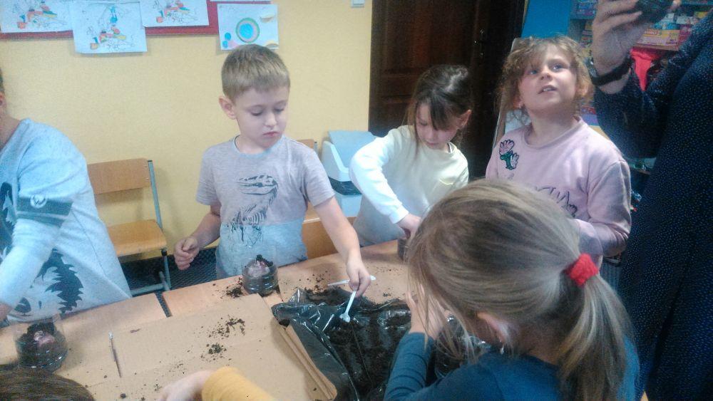 Dzieci  wykonują czynności ogrodnicze i słuchają kilku ciekawostek o hiacyntach