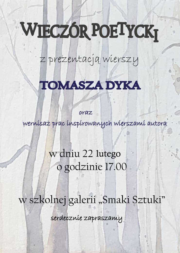 wieczór poetycki Tomasza Dyka - plakat