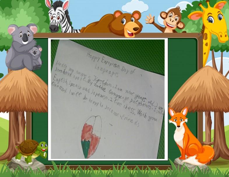 kartka z pozdrowieniami z okazji Europejskiego Dnia Języków przygotowana przez dziewięcioletniego Kristiana z Bułgarii