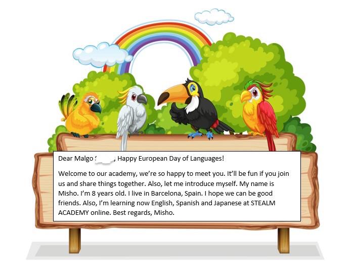 kartka z pozdrowieniami z okazji Europejskiego Dnia Języków przygotowana przez ośmioletniego Misho z Bułgarii