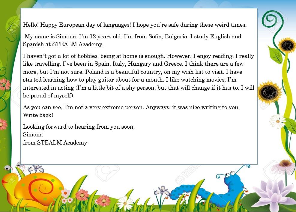 kartka z pozdrowieniami z okazji Europejskiego Dnia Języków przygotowana przez dwunastoletnią Simonę z Bułgarii
