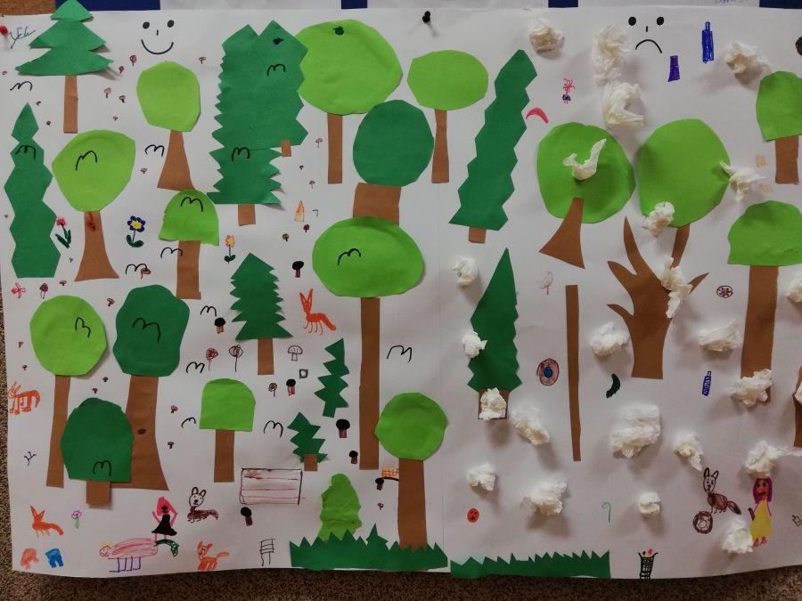 zdjęcie przedstawia plakat wykonany przez dzieci dotyczący ochrony środowiska