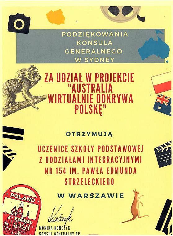 dyplom dla uczennic klasy 7b za udział w projekcie Australia wirtualnie odkrywa Polskę