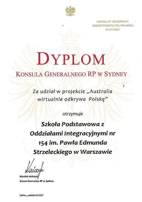 dyplom dla Szkoły Podstawowej nr 154 w Warszawie za udział w projekcie Australia wirtualnie odkrywa Polskę