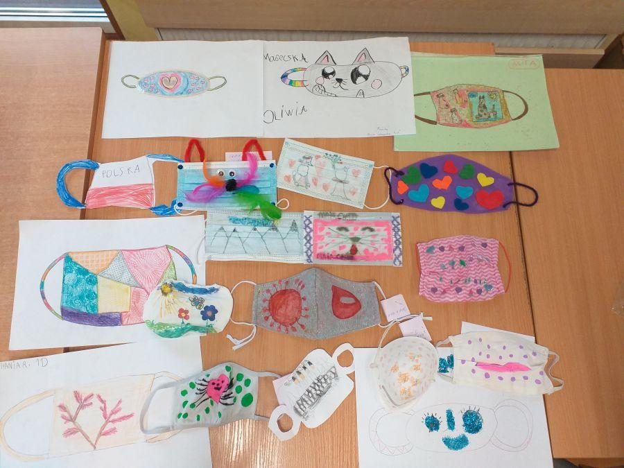 Maseczki wykonane przez dzieci podczas konkursu organizowanego w świetlicy