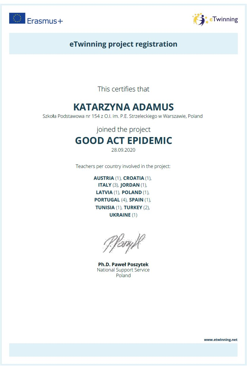 certyfikat rejestracji projektu good act epidemic