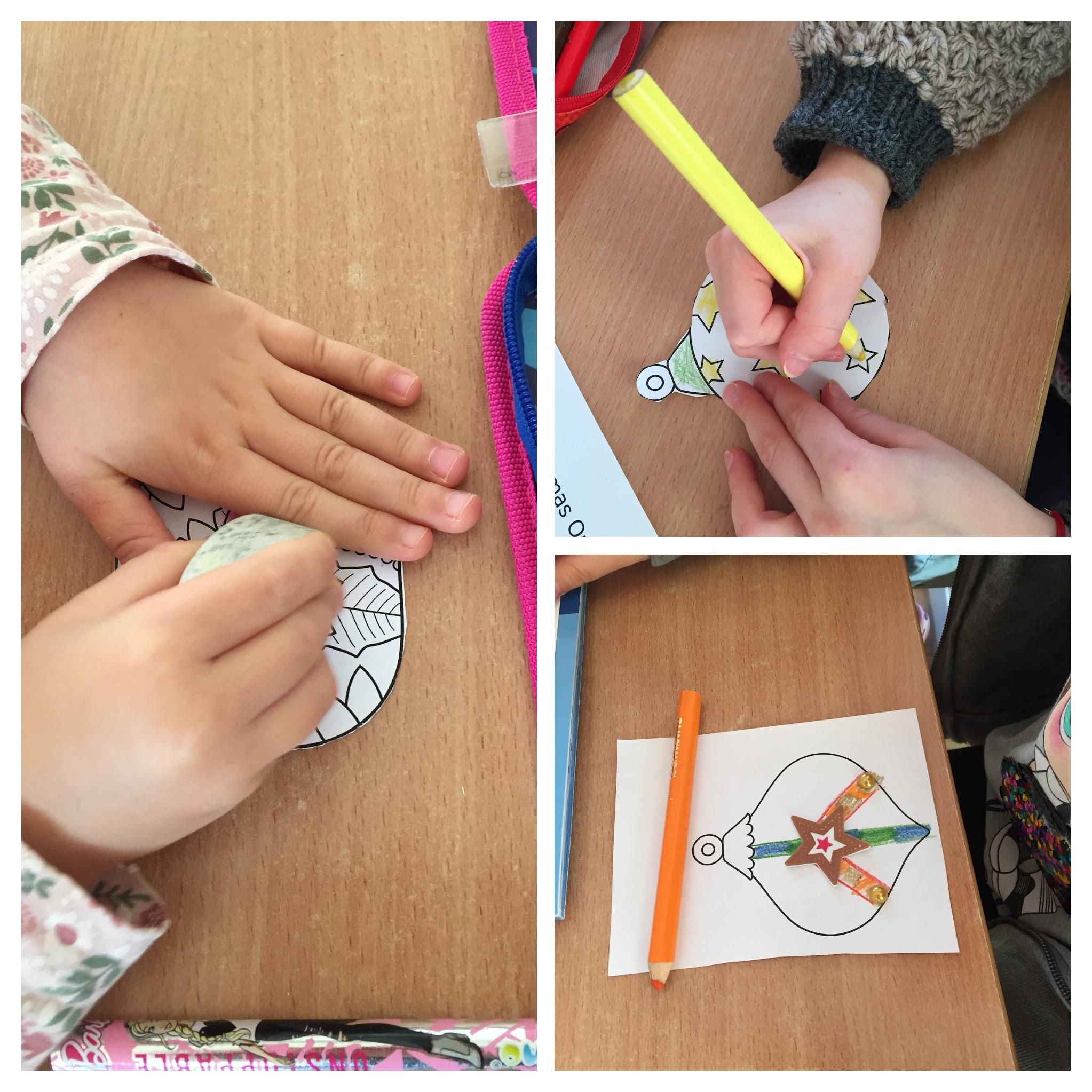 uczniowie przygotowują prace w ramach projektu Decorate Our Christmas Tree