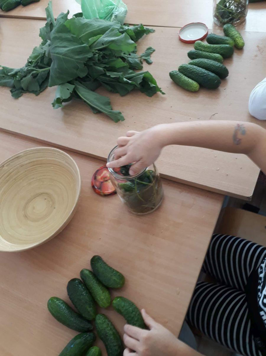 Dziecko wkłada ogórki do słoika