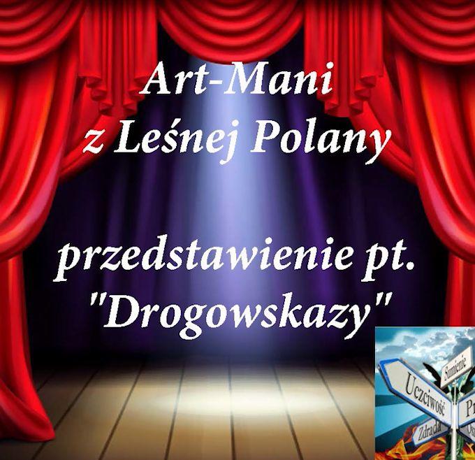 plakat art mani z Leśnej Polany, przedstawienie Drogowskazy