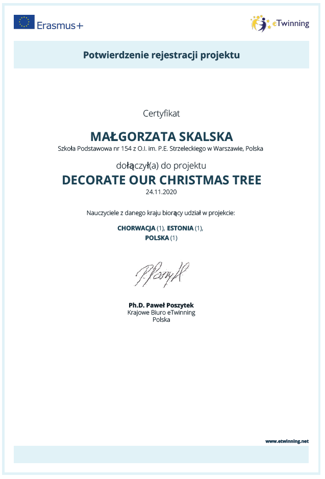 certyfikat projektu Decorate Our Christmas Tre