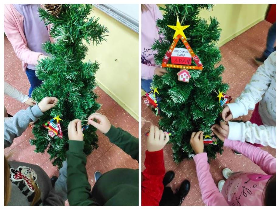 Uczniowie ze szkoły w Osnovna škola Turanj, Karlovac w Chorwacji ubierają choinkę.