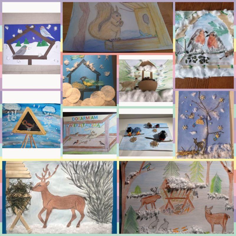 na ilustracji kolaż wykonanych przez uczniów prac plastycznych, przedstawiających zwierzęta dokarmiane zimą (ptaki, wiewiórki, sarny)