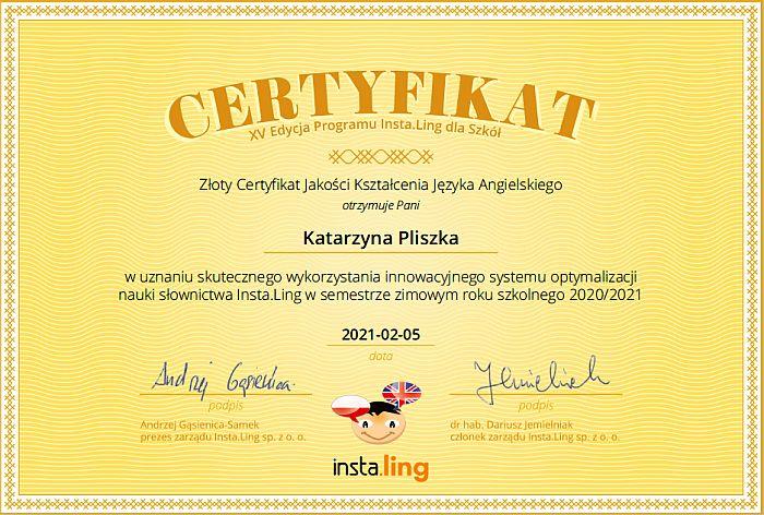certyfikat instaling Katarzyna Pliszka