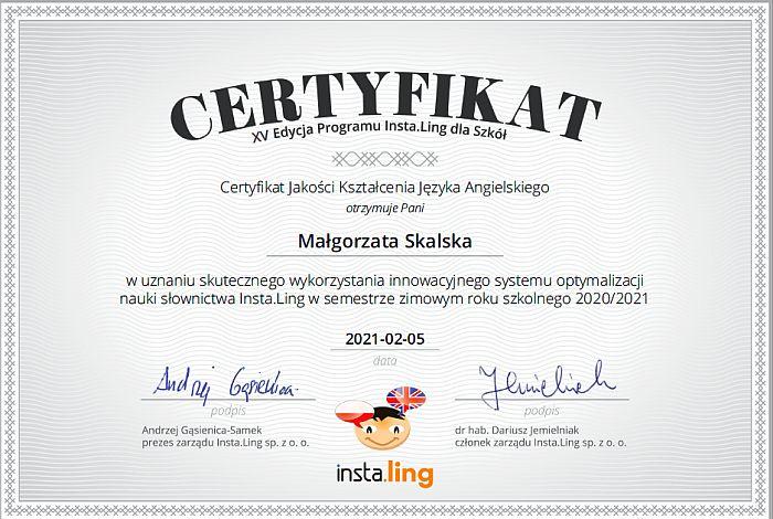 certyfikat instaling Małgorzata Skalska