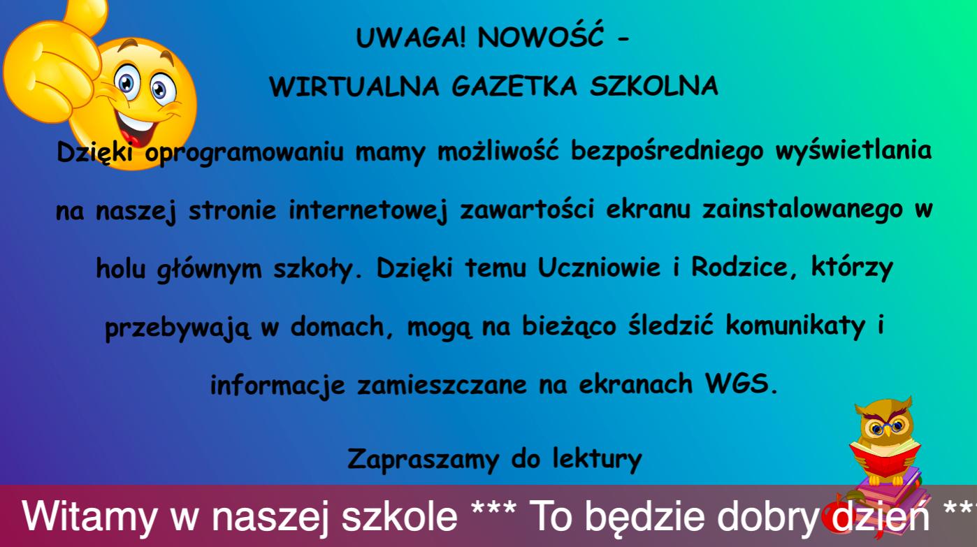 plakat informujący o wirtualnej gazetce szkolnej