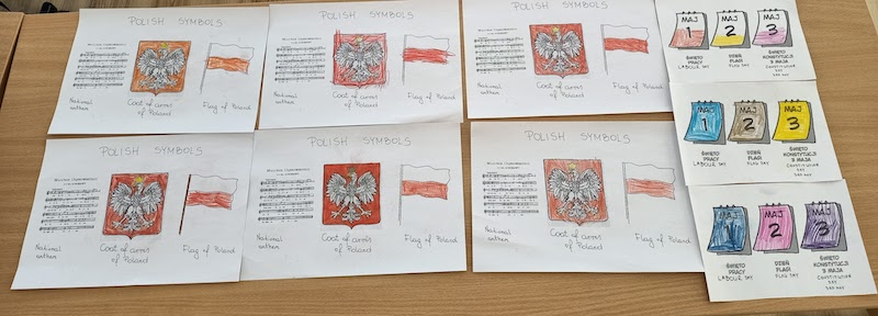 Dzieci z oddziału 0a przygotowały plakaty z symbolami Polski