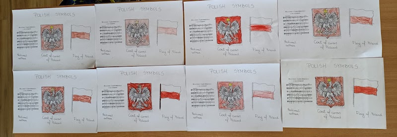Dzieci z oddziału 0b przygotowały plakaty z symbolami Polski
