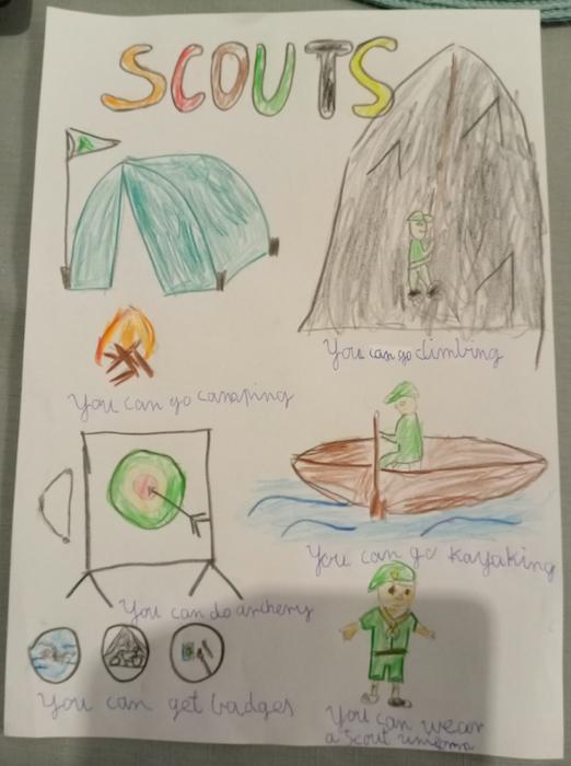 Bartosz z klasy 3d przygotował plakat na temat harcerstwa. Bartosz narysował harcerza w typowym stroju. Ponadto praca przedstawia harcerzy, którzy wspinają się po górach, strzelają z łuku, rozpalają ognisko oraz pływają kajakiem.