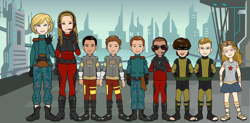"""Zdjęcie przestawia avatary (superbohaterów) nauczycielek i uczniów projektu językowego """"Uczniowie klas trzecich mówią i piszą po angielsku"""""""