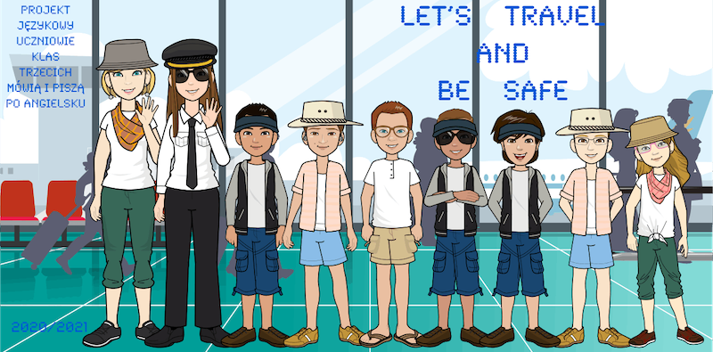 """Zdjęcie przedstawia uczestników projektu językowego """"Uczniowie klas trzecich mówią i piszą po angielsku, którzy wybierają się w podróż wakacyjną."""