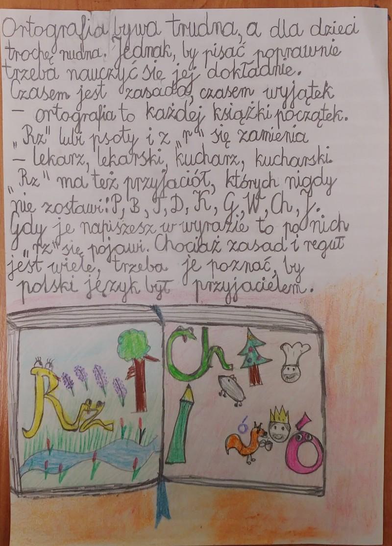 Praca konkursowa z wierszem pt. ORTOGRAFIA, miejsce 2