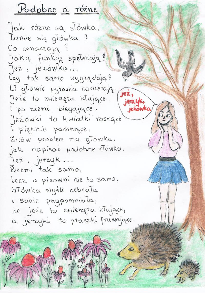 Praca konkursowa z wierszem pt. PODOBNE A RÓŻNE, miejsce 2