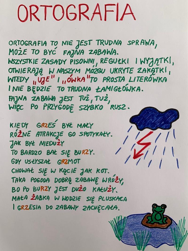 Praca konkursowa z wierszem pt. ORTOGRAFIA, wyróżniona praca