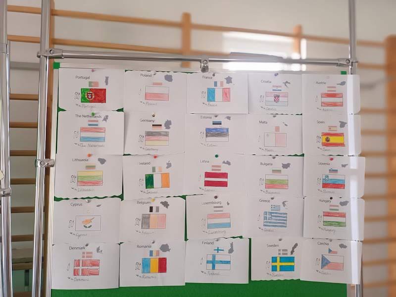 Zdjęcie prezentuje flagi państw euopejskich przygotowane przez uczniów klas 1.