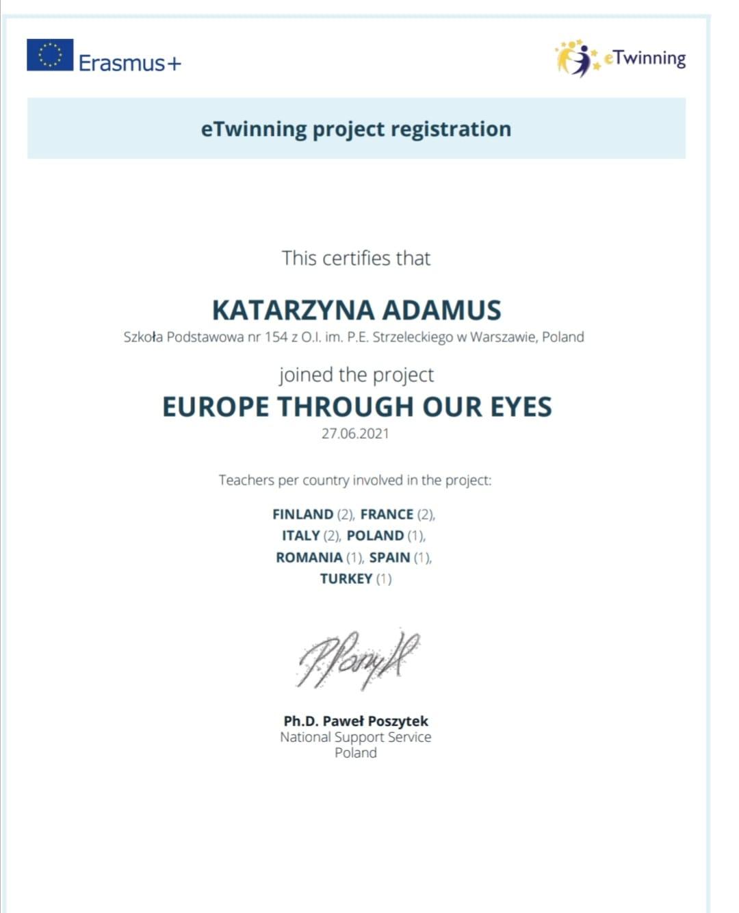 potwierdzenie rejestracji projektu na stronie etwinning